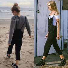 NEW! Brandy Melville black wash light weight stretchy Jade Overalls NWOT sz S/M