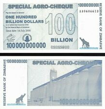 Zimbabwe : 100 Billion Dollars (Special Agro-Cheque) 2008 P-64 UNC