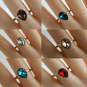 LADIES WOMEN GIRLS  ADJUSTABLE DROP CRYSTAL RING DIFFERENT COLOUR