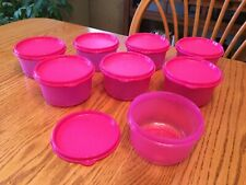 New TUPPERWARE Set of 8 Serving Center Bowls ~ 14-oz / 1 3/4-cup ~ Bright Pink!