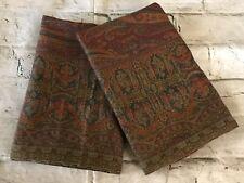 FAB Ralph Lauren Great Barrington Gold & Wine Paisley Pair (2) King Pillowcases