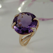 Ring in 585/- Roségold mit 1 Amethyst 15 ct + 12 kl. Diamanten 0,06 ct NEU Gr.56