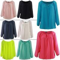 Womens Italian Plain Drawstring Bardot Tunic Top Ladies Blouse Shirt One Size