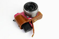 Brown Leather Camera Bottom Case Half Cover For Sony Alpha a5100 or a5000 Tan