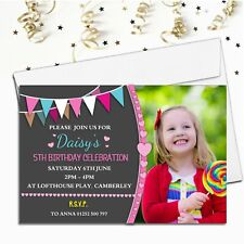 10 Personalised Girls Bunting Birthday Party PHOTO Invitations N211 ANY AGE