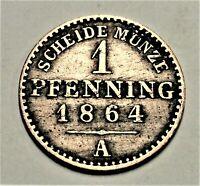 Brandenburg-Preußen 1 Pfennig 1864 A  Wilhelm I.(1861-1888) Kupfer vz+ / xf plus