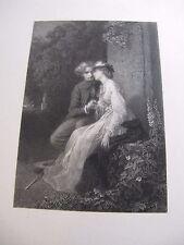 "GRAVURE Alexandre BIDA ""COUPLE ROMANTIQUE""1870 Signée BALLIN Fonds DE ROCHEBRUNE"