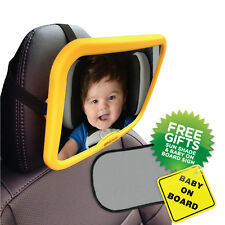 Baby Car Mirror Yellow Large Adjustable Baby Safety Mirror Clear Wide View