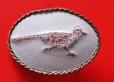VTG Embroidered Roadrunner Leather Nickel Silver Belt Buckle