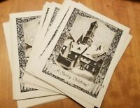 Vintage Silver Embossed Christmas Card Set of 12 Town snow scene NOS 1910s