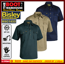 BISLEY Mens Short Sleeve Work Shirt BSC1433 Cotton Drill Closed Front. Big Sizes