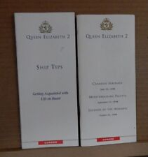 Cunard QUE2 Queen Elizabeth 2 Booklets ship Tips and tour Itinery 1998