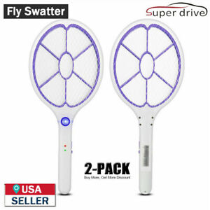 2PCS Electronic Rechargeable Fly Swatter Mosquito Bug Zapper Mosquito Killer