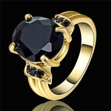 Vintage Round Cut Black Sapphire Ring 18k Yellow Gold Filled Jewelry Size 6