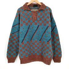 Himalayan Wool Handmade Nepal Checkered Sweater Tribal Wooden Button Size L