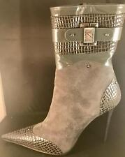GIANMARCO LORENZI BOOTS ITALIAN SIZE 40 STILETTO GREY SUEDE LEATHER ITALY $700 •