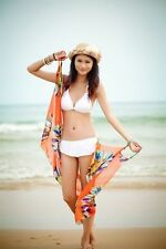 Free Ship Sun Block Sexy Beach Towel Bikini Cover Up Sarong Wrap Pareo Orange