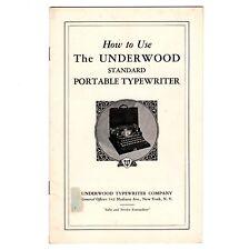 UNDERWOOD STANDARD PORTABLE TYPEWRITER INSTRUCTION MANUAL Original Antique