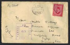 EGYPT UK 1939 ARMY STAMP 10MIL CENSORED TIED FIELD POST OFFICE 60J TO ENGLAND W/