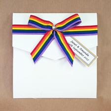 gay pride rainbow handmade pocket wedding invitation set (gail)