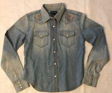 Girls Ralph Lauren Pearl Snap Western Flower Distressed Denim Shirt Sz Kids M