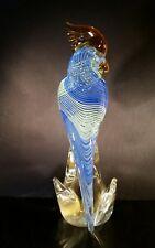 Murano Art Glass Blue Green Ribbon Gold Flake Cockatoo, Parrot, Bird