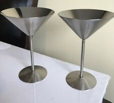 Set Vintage Stainless Steel Cocktail Glasses Martini