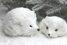 GISELA GRAHAM CHRISTMAS WHITE BRISTLE HEDGEHOG ORNAMENT SET OF TWO