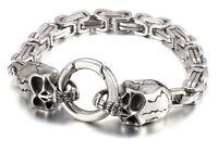 Herren Silber Viking Armbänder für Neu Totenkopf Byzantiner & Wolf 316L