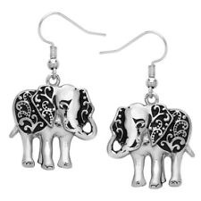 Metal Casting Silver Tone Dangling Lucky Elephant Earrings Fast Shipping