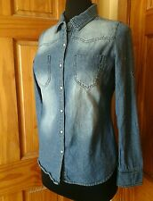 Ci Sono Womens Pearl Snap Denim Shirt Lg