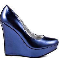 NIB Fernanda Blue Metallic Wedges Platforms Never Worn Size 9