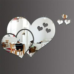 1set Love Heart 3D Mirror Wall Sticker Decal Removable Stickers Home Decoration