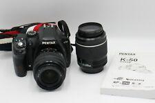 Pentax K-50 16.3MP fotocamera reflex digitale + 18-55mm + 50-200mm Obiettivo Nero