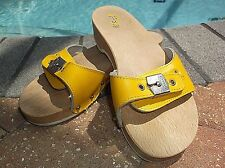Dr. Scholl's Original Womans Yellow Leather Sandals Slides Shoes Sz 8 Lk Nw!