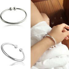 Women Fashion 925 Sterling Silver Beads Lucky Bracelet Cuff Bangle Charm Jewelry
