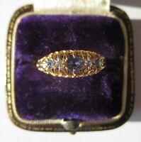 Bague jarretière ancienne de 1863 Saphirs Diamants - Or 18 carats Gold 750