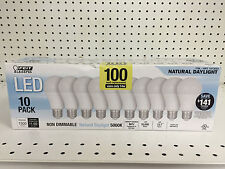 New Feit 10 Pack LED Natural Daylight 100W Uses Only 14 Watts 1500 Lumens 5000K