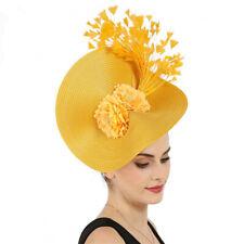 Yellow Feather Women's Wedding Party Hat Veil Prom Evening Formal Cap Headband