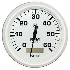 "FARIA DRESS WHITE 4"" TACHOMETER HOURMETER 6000 RPM"