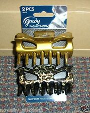 C70 A PACK OF 2  PC GOODY 3 1/2 INCH HAIR CLAW CLIPS BRONZE LEOPARD PRINT #06420