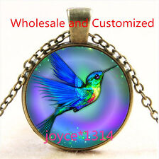 Vintage hummingbird Cabochon bronze Glass Chain Pendant Necklace TS-4678