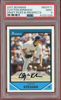 2007 Bowman Draft Picks Clayton Kershaw RC Rookie #BDPP77 (Dodgers) PSA 9 MINT