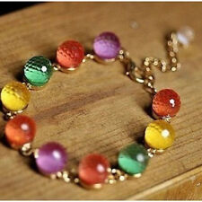 Women Girl's Candy Color Rainbow Color Ball Crystal beads Retro Bracelet