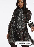 Violet Romance Smock Dress Size 8,12,18 & 22 Black Patchwork Mixed Floral HC38