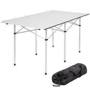 XXL Tavolo camper campeggio picnic alluminio pieghevole arrotolabile 140x70x70cm