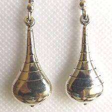 SMALL SILVER PLATED DROP EARRINGS, NICKEL FREE TEARDROP DESIGN WITH RINGS.
