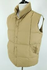 Lands End Puffer Down Filled Tan Brown Snap Button Vest MINT Mens M (38-40)