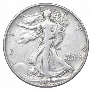 NICE Strong Feather Detail 1937-D Walking Liberty Half Dollar 90% Silver US *331