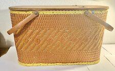 Vintage Redmon Wicker Picnic Basket with Pie Shelf Riser Peru Ind